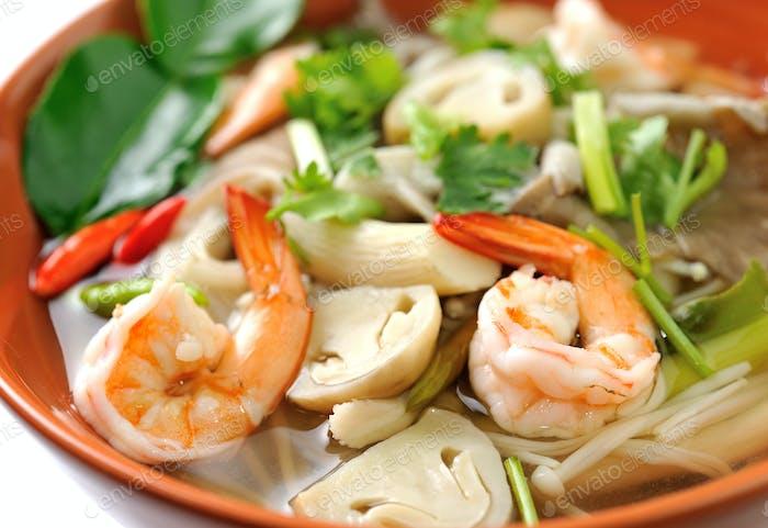 Thai Food Shrimp soup with mushrooms (Tom Yum Goong)