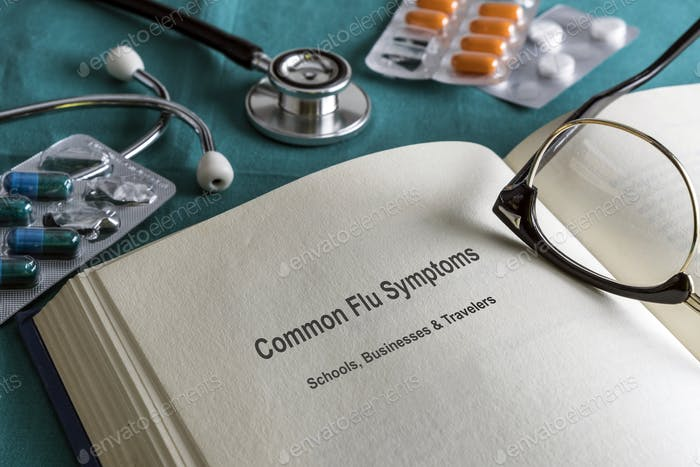 Book page medicine of common flu symptoms in schools, businesses and travelers