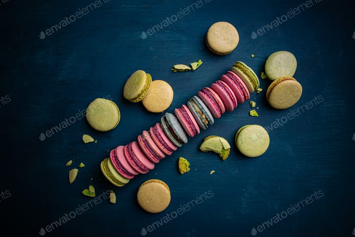 Sweet and colorful French macarons