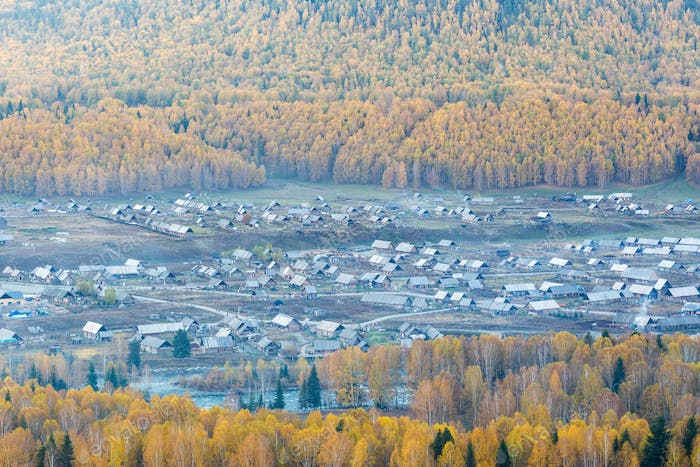 overlooking the beautiful hemu villages, kanas scenic spot, xinjiang