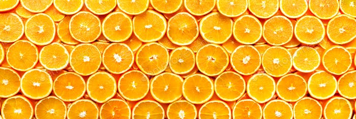 Frische geschnittene Orangenfrucht-Textur. Makro, Draufsicht, Kopierraum, Banner. Frischhaltegestell Saftige Orangen