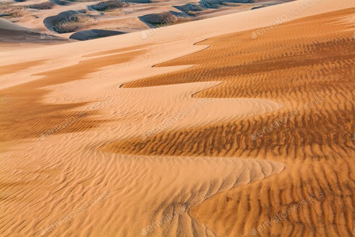 Desert sand patterns. Arid landscape of the Sahara desert