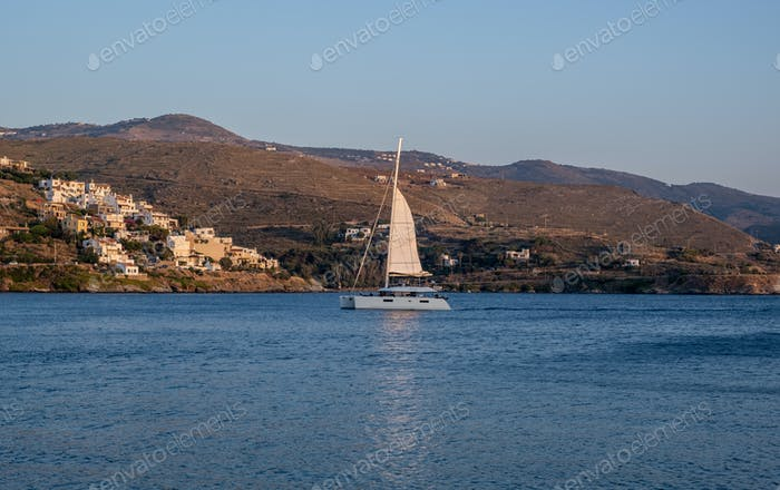 View of Kea, Tzia island, sailboat sailing, tourism destination Greece.