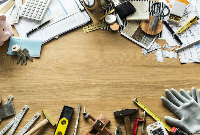 Flat lay of various technician tools isolated