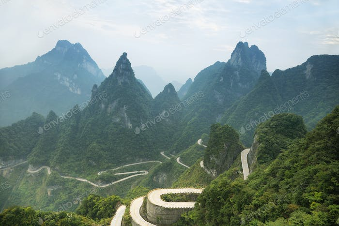 View of winding road of Tianmen mountain national park