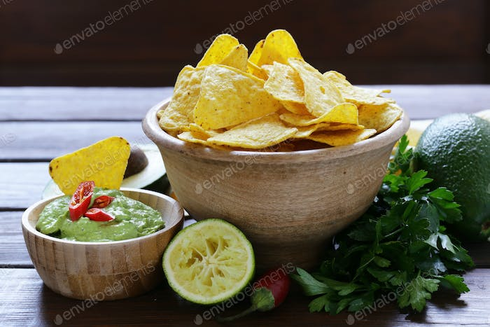 Dip Of Avocado Guacamole And Corn Chips