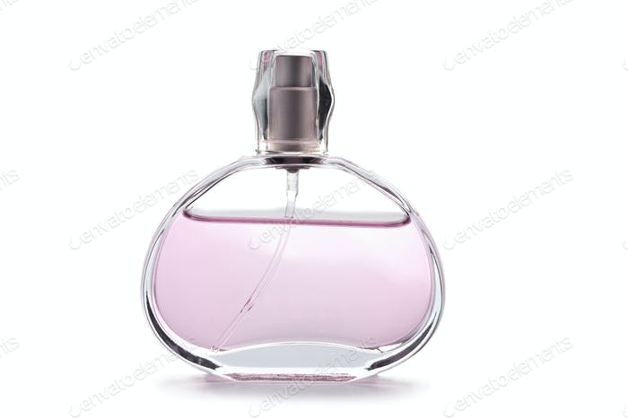 transparent bottle of pink perfume isolated