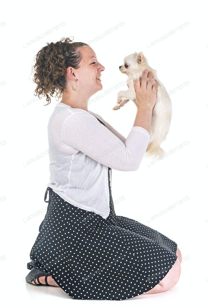 woman and chihuahua