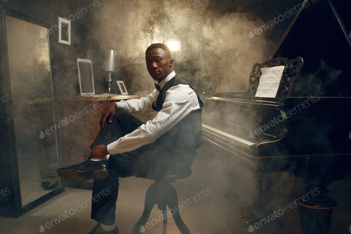 Stylish black grand piano player, jazz performance