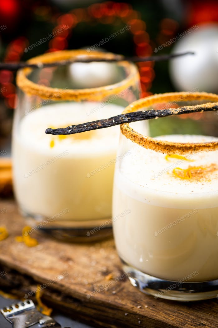 Traditional Eggnog. Christmas Festive Food and Drink