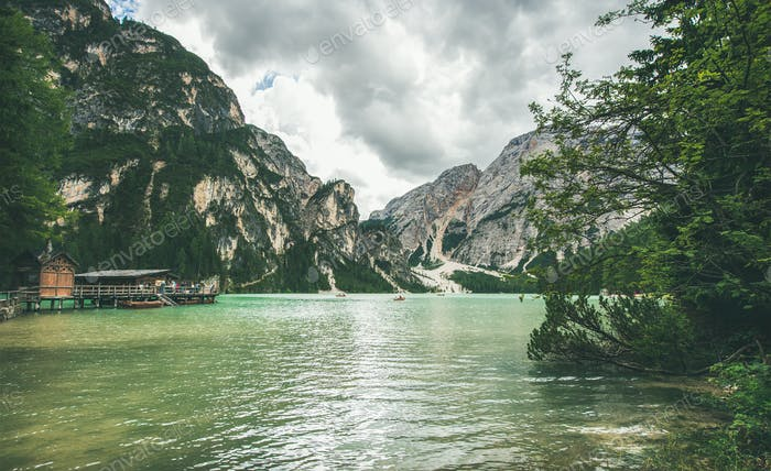 Mountain Lake in Valle di Braies on summer day