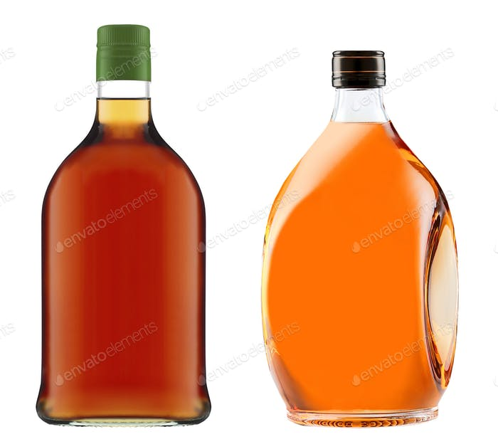 Full whiskey bottles isolated