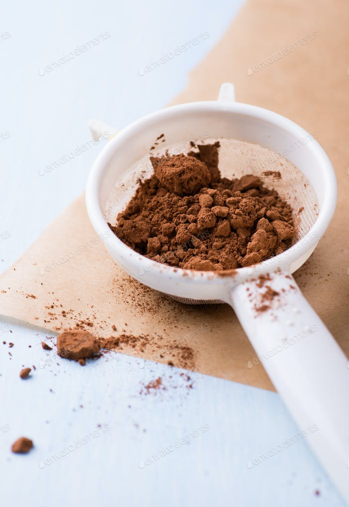Cocoa powder in sieve