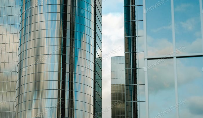 3D Illustration. Modern glass high-rise buildings. Industrial architecture concept