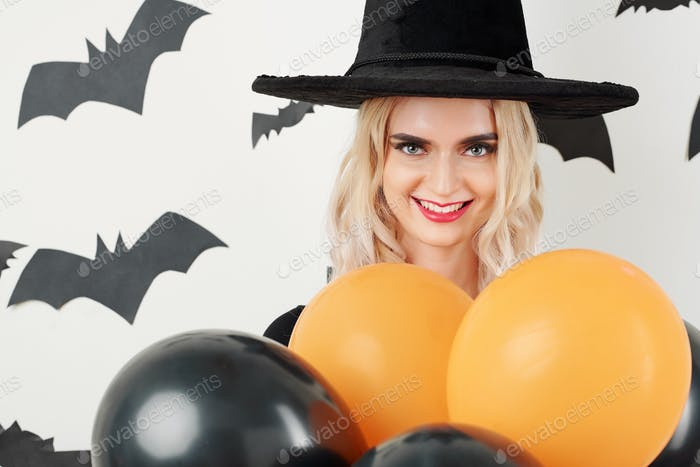 Young woman preparing for Halloween