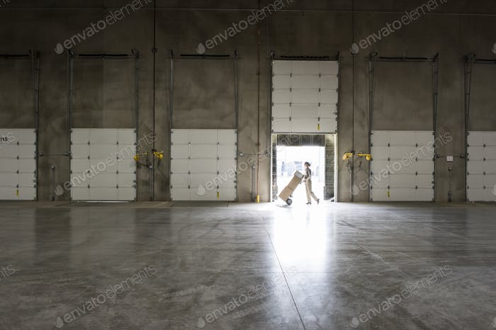 A warehouse worker with a hand truck at a loading dock door in a warehouse.