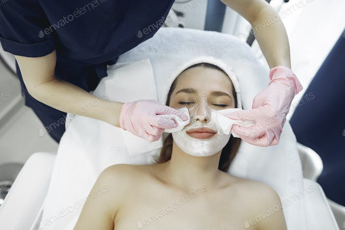 Woman in cosmetology studio on a procedures