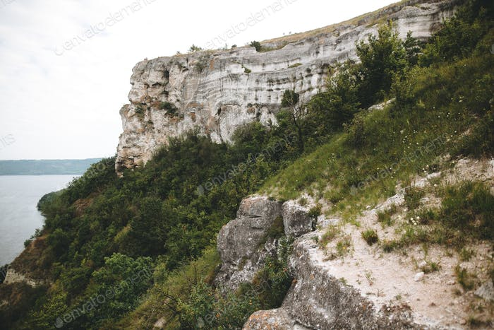 Beautiful stone cliff and big lake