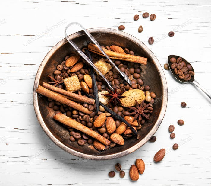 coffee beans and mix spices