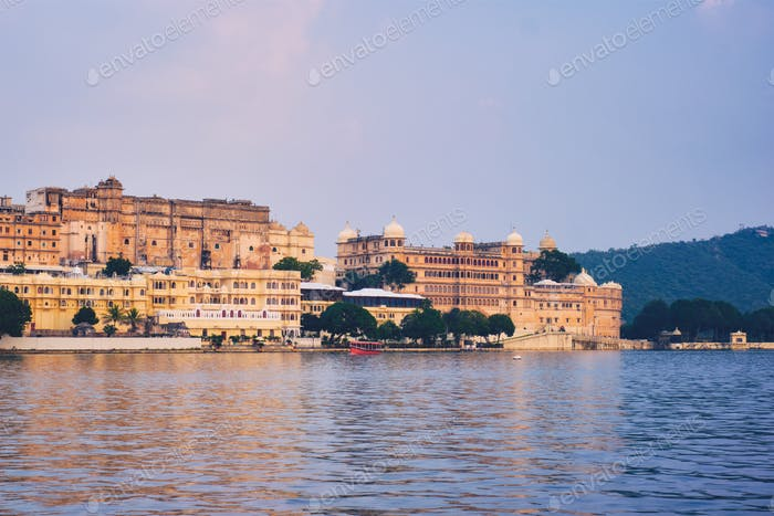 Udaipur City Palace on sunset view. Udaipur, India