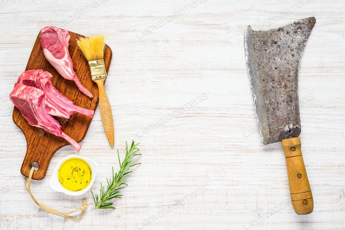 Lamb Chops with Seasonings on Copy Space Area