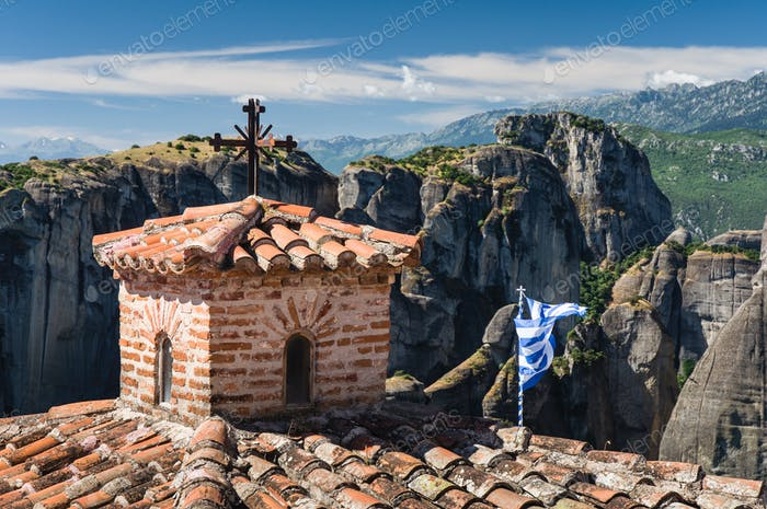 rooftops of meteora monasteries, Greece