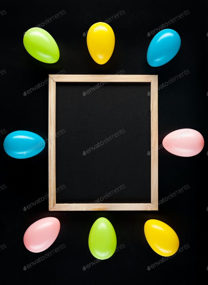Easter eggs on a black background