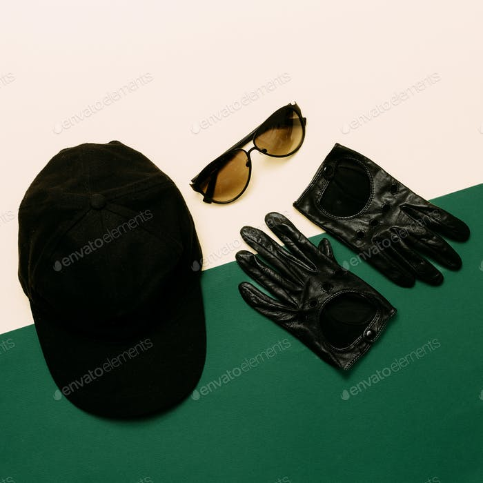 Set cap, gloves, sunglasses. military style