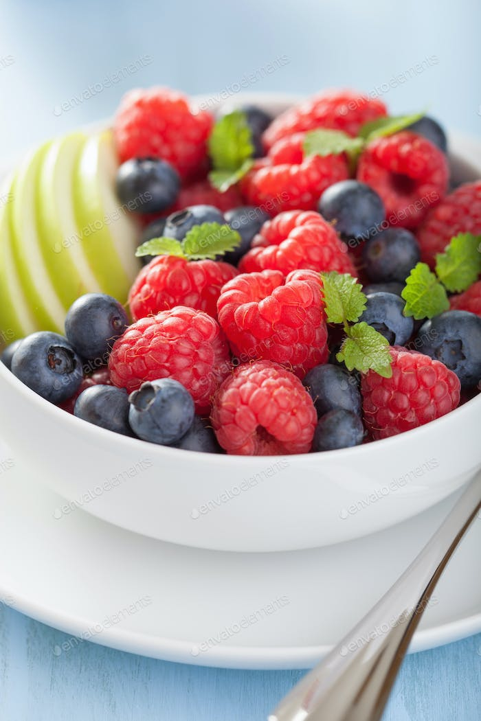 fresh fruit salad with raspberry blueberry apple