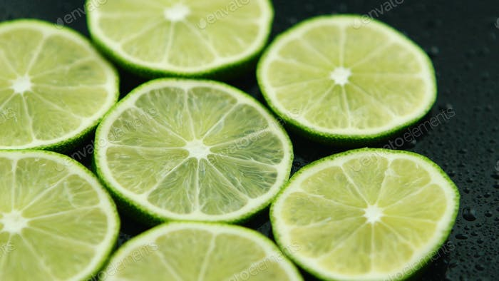 Slices of sour fresh lime