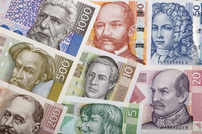 Full set of Croatian money, a background