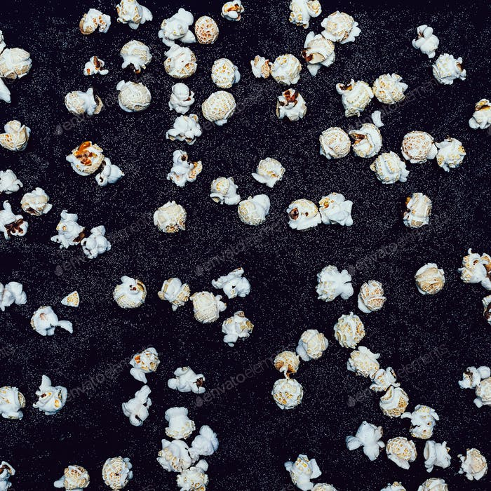 Popcorn on a black background Minimal fashion