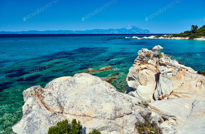 Rocky coast and turquoise sea in Greece