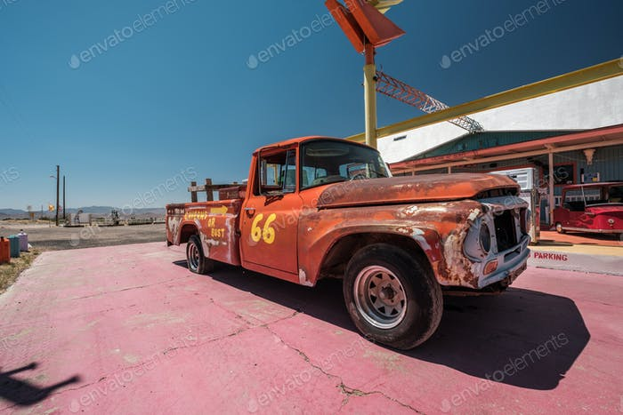Old car near historic route 66 in California