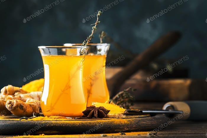 Healthy vegan turmeric golden tea