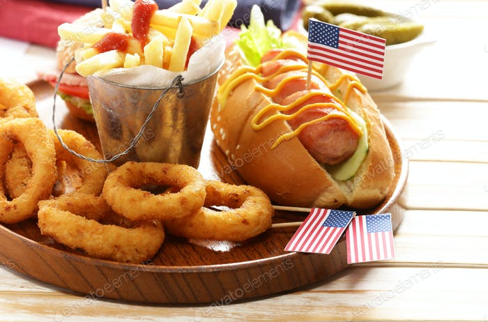 Traditional Hot Dog, French Fries And Onion Rings