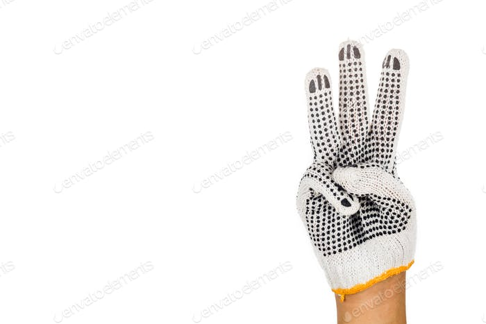 Hand in industrial glove gesturing number three against white ba