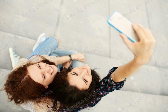Sisters making selfie