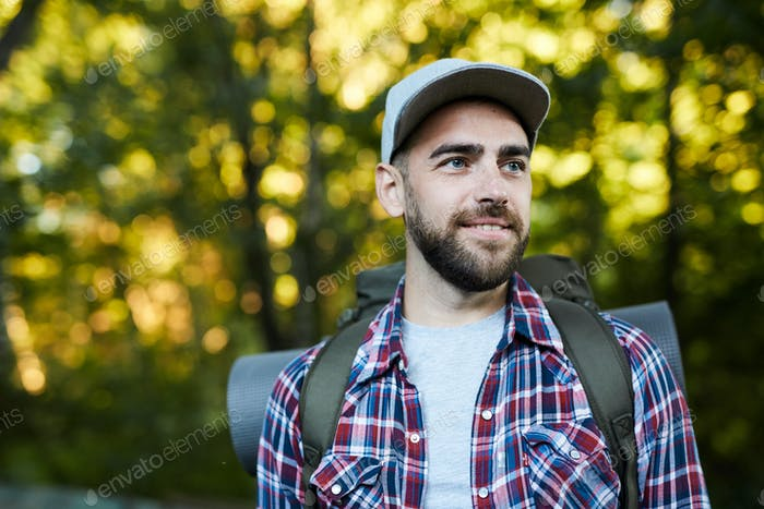 Tourist in the forest