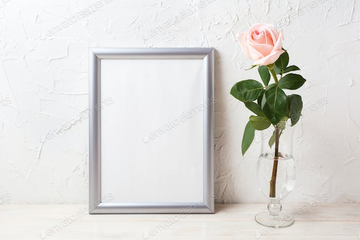 Silver frame mockup with soft pink rose in exquisite vase