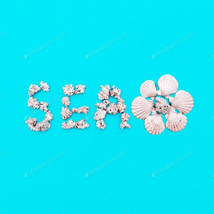 Tropical marine art set. seashells. Silver Sea style