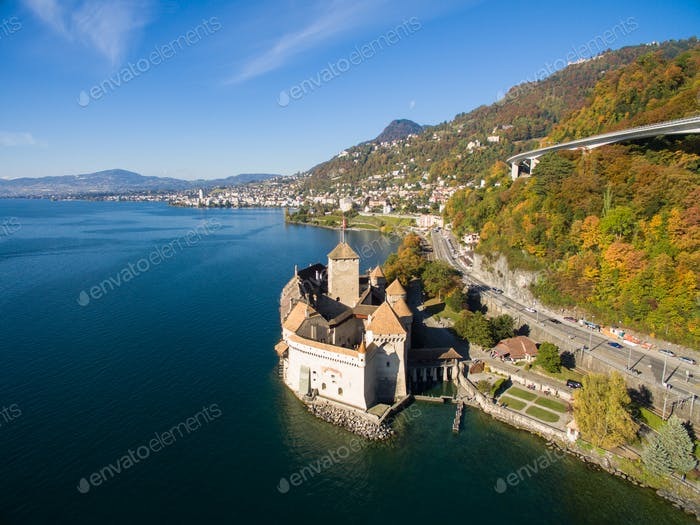 Thumbnail for Aerial view of Chillon Castle - Chateau de Chillon in Montreux, Switzerland