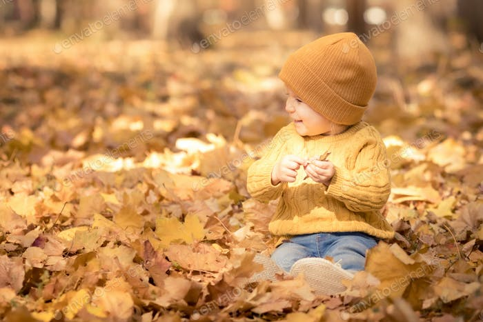 Happy child having fun outdoor in autumn park