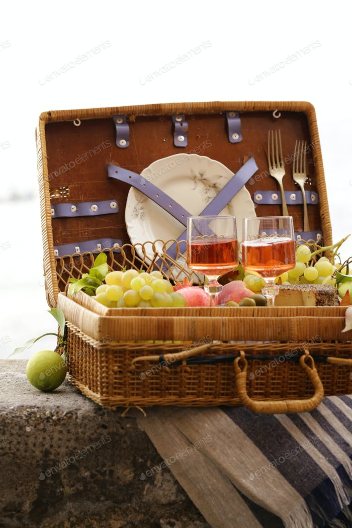Picnic Basket With Fruit