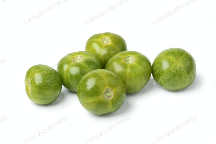 Whole green striped tomatoes
