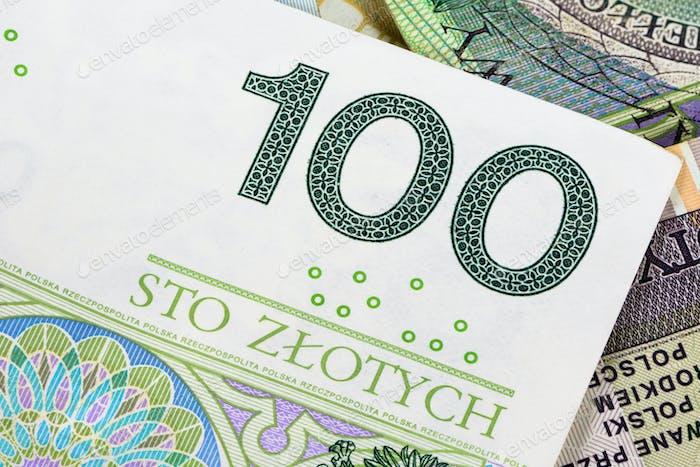 Closeup of 100 pln banknote