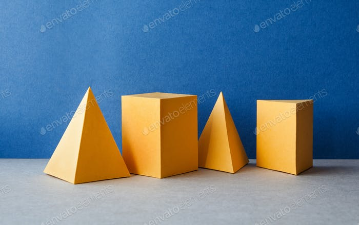 Abstract geometric figures. Three-dimensional pyramid tetrahedron cube