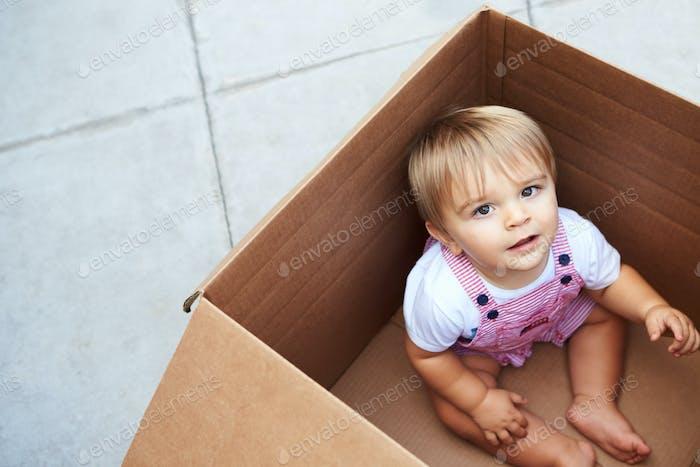 Little Boy spielt im Inneren Umzug in Box