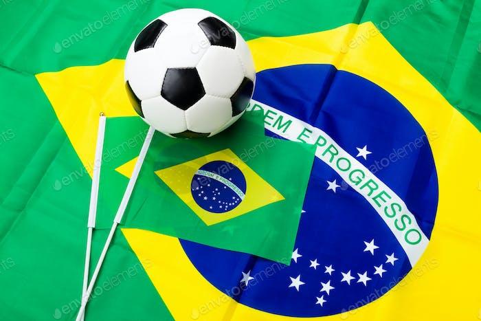 Brazil flag and soccer