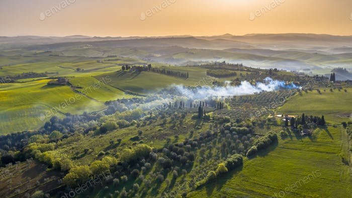 Aerial view tuscan countryside